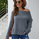 Minimalist Solid Knitted Off The Shoulder Sweater