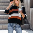 Crew Neck Contrast Color Loose Knit Sweater