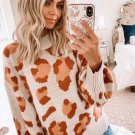 Stitching Color Leopard Print O Neck Pullover Sweater