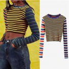 Multicolored Stripes Slim Cropped Knit Sweater