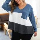Plus Size Contrast Color Long Sleeve Sweaters