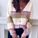 Contrast Color Long Sleeve Button Up Cardigan Sweater