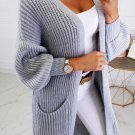 Casual Solid Pocket Knit Long Cardigan