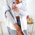 Casual Contrast Color Hooded Long Cardigan