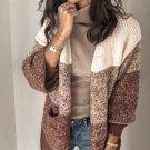 Leisure Contrast Color Long Knit Cardigan
