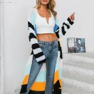 Contrast Color Striped Long Cardigan