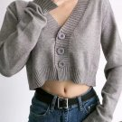 Pure Color V Neck Cardigan Sweater