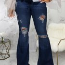 Washed Hole Elastic Flare Jeans For Women