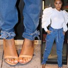 Chic Ankle Bow High Wasted Jeans
