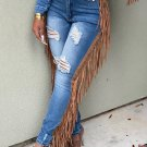 Side Tassel Skinny Ripper Jeans For Women