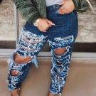 Street Style Dark Blue Ripped Jeans For Women