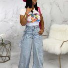 Simple Style Light Blue Wide Leg Jeans With Belt