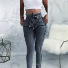 Solid Color Side Pockets Tie-Wrap Skinny Jeans