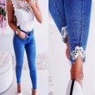 Stylish Studded Decor Mid Waist Skinny Jeans