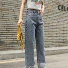 Roll Up Hem Straight Jeans For Women