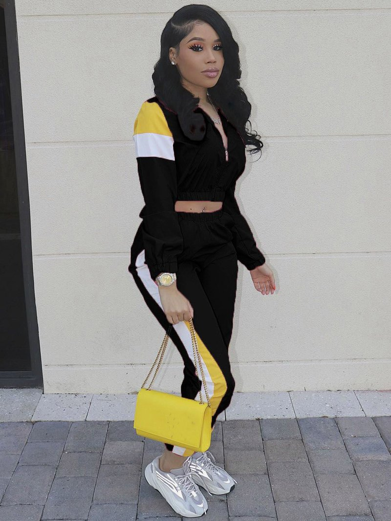 Contrast Color Stand Collar Womens Tracksuits