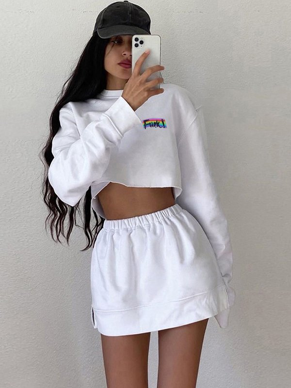 Letter Printed Long Sleeve White 2 Piece Skirt Set