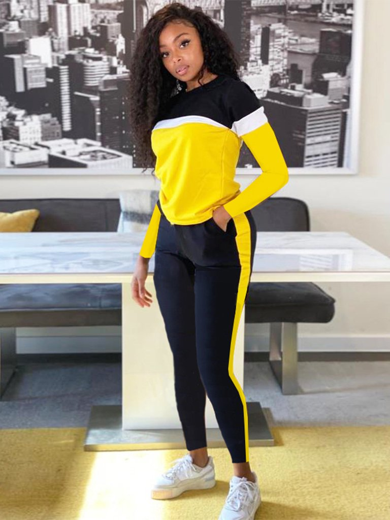 Contrast Color Casual Long Sleeve Top And Pants