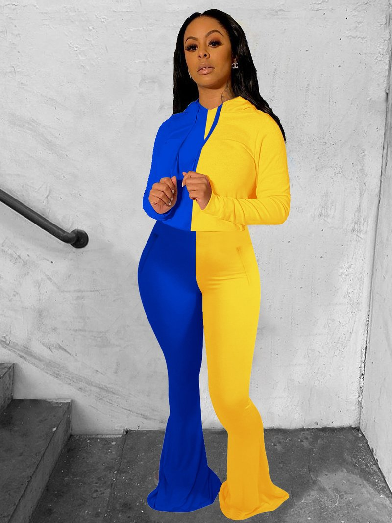 Contrast Color Hooded Flare Pants Two Piece Sets