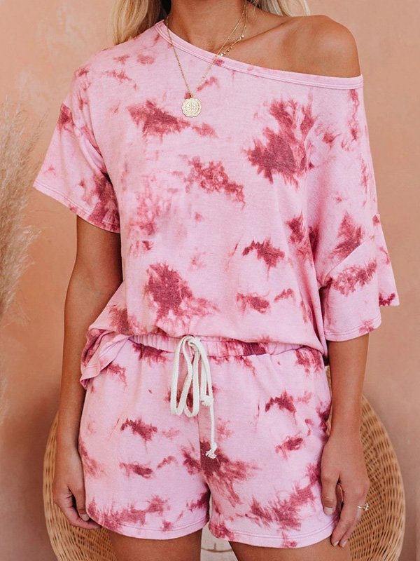 Tie Dye Short Sleeve Summer Outfit