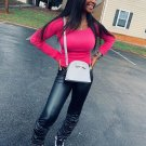 Scoop Neck Plain T Shirt With Stacked Leather Pants