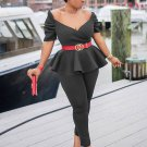 Casual Solid Ruffle Ruched 2 Piece Outfits