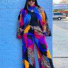 Leopard Long Sleeve Plus Size Pants Set