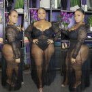 Lace Solid Long Sleeve Plus Size Sets