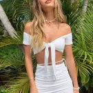 Attractive White Off Shoulder Top And Skirt Set