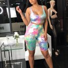Deep U Neck Tie Dyed Two Piece Short Sets