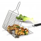 Outdoor Barbecue Rack Non-stick Stainless Steel Mesh Baskets Clamp BBQ Tool Gril