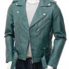 QASTAN Men's New Slim Fitting Black / Teal Green Biker Soft Leather Jacket QMJ31