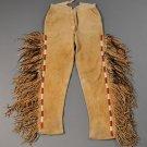 Men's New Native American Tan Buckskin Buffalo Suede Leather Fringes Pant NAP04