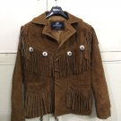 Men's New Native American Buckskin Brown Goat Suede Leather Fringes Jacket FJ461