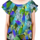 Butterfly Floral Women's Off Shoulder Blouse with Ruffle