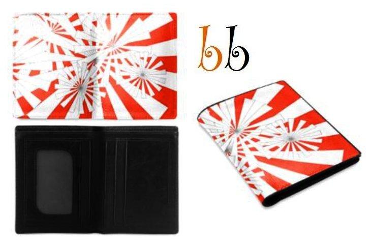 Orange Pin Wheel Men's Leather Wallet