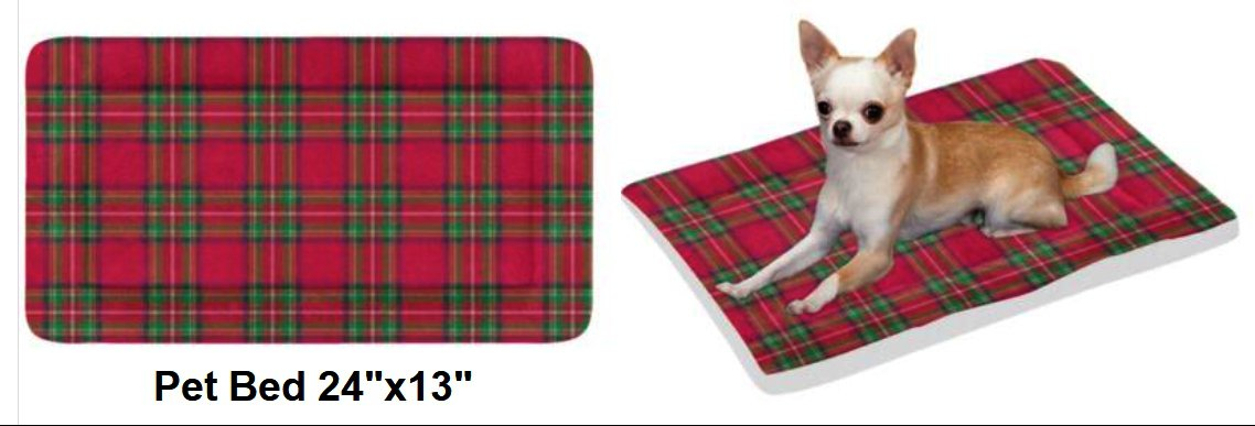 "Christmas Plaid Pet Bed 24""x13"""