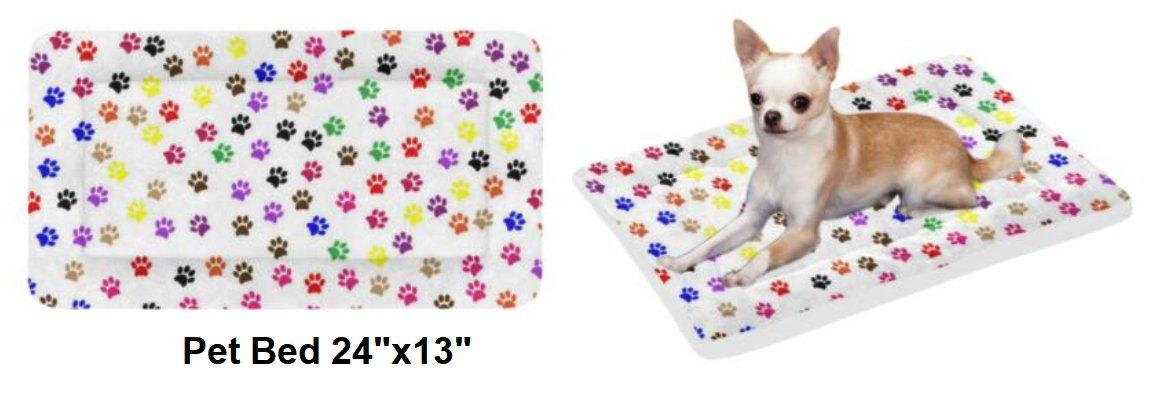 """Multi Color Paws Pet Bed 24""""x13"""""""