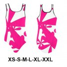 Pink Pin Wheels One Piece Swimsuit M S04