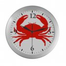 Red Crab Silver Wall Clock