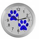 Blue Paw Prints Silver Wall Clock