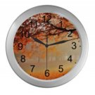 Fall Leaves Silver Wall Clock