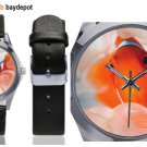 Gold Clown Fish Silver-Tone Round Leather Watch - M216