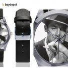 Cary Grant Silver-Tone Round Leather Watch - M216