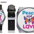 Peace & Love Silver-Tone Round Leather Watch - M216