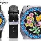 Petrella Silver-Tone Round Leather Watch - M216