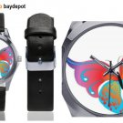 Butterfly Silver-Tone Round Leather Watch - M216
