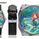 Little Mermaid Silver-Tone Round Leather Watch - M216