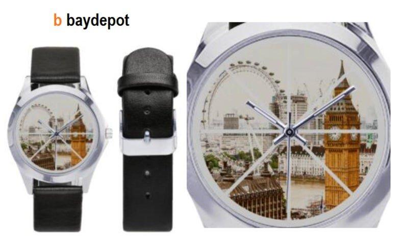 Big Bend / London Eye  Silver-Tone Round Leather Watch - M216
