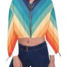 """70""""s Vintage Stripe Cropped Chiffon Jacket M H30"""
